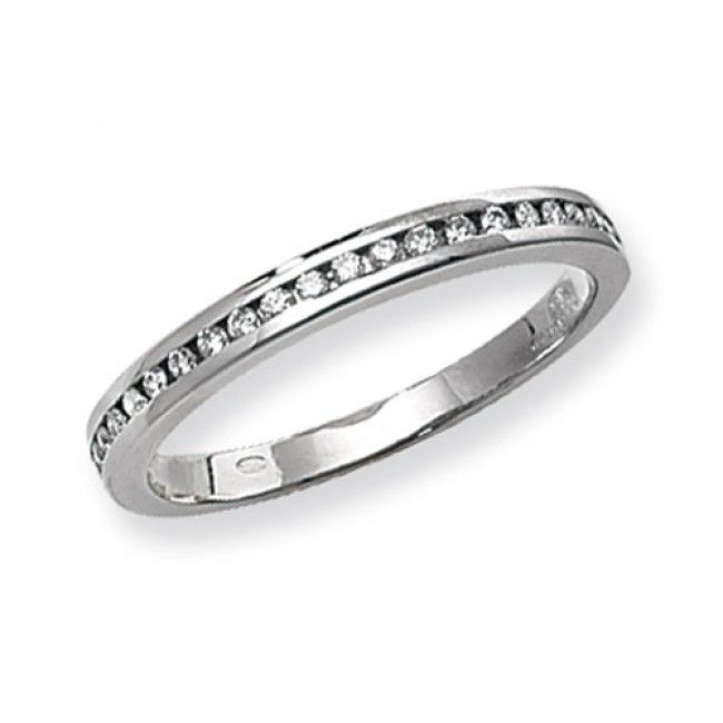 18ct White Gold 0.20 Carat Diamond G SI2 Half Eternity Wedding Ring