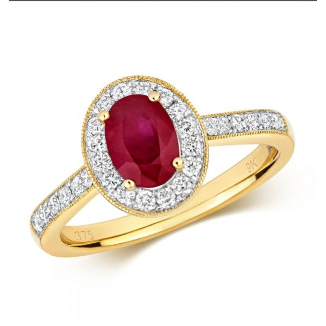 1.00 carat Ruby & Diamond Halo Pave Yellow Gold Ring