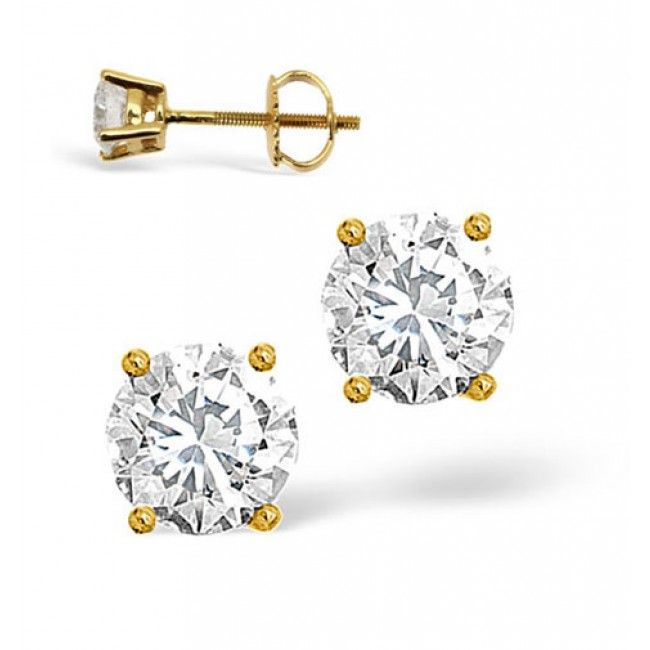 18K Gold 0.50ct Diamond Earrings, DE01-50PKY