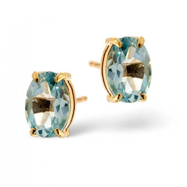 18K Gold 5mm x 7mm Blue Topaz Earrings, DCE02-BT