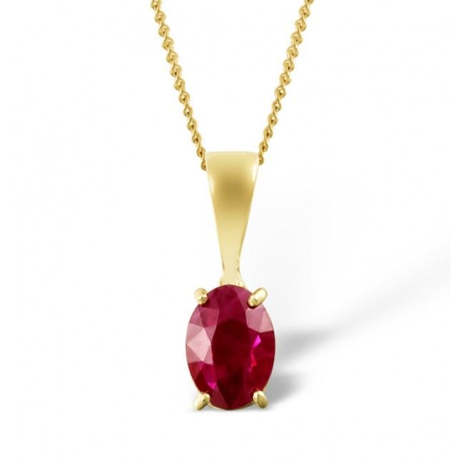 18K Gold 7mm x 5mm Ruby Pendant, DCP02-R