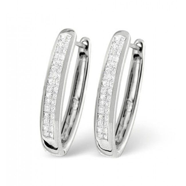 18K White Gold Diamond Earrings 0.50ct H/si, N1129