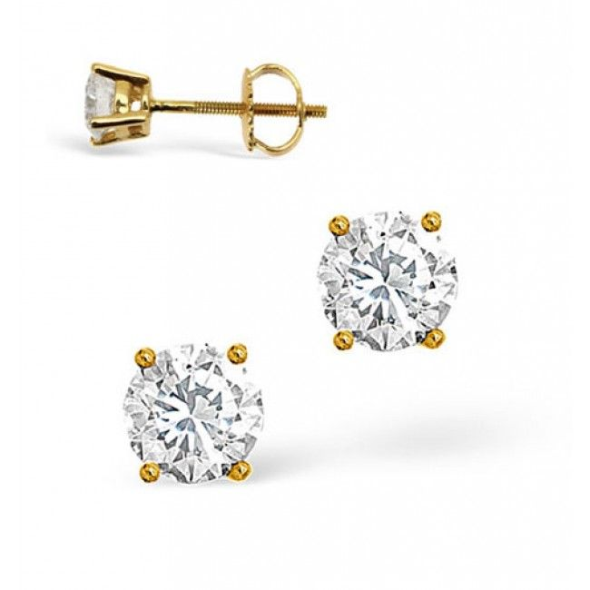 18K Gold 0.30ct Diamond Earrings, DE01-30PKY