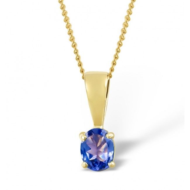 18K Gold 5mm x 4mm Tanzanite Pendant, DCP01-T