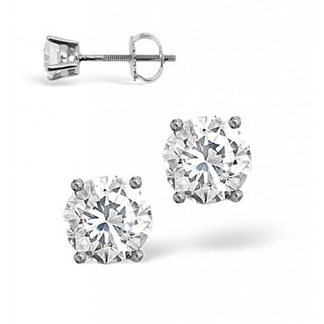 18K White Gold 0.40ct Diamond Earrings, DE01-40PKW