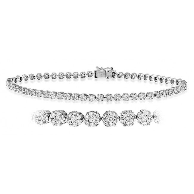 18K White Gold 2.00ct H/si Diamond Bracelet, DBR03-2HSW