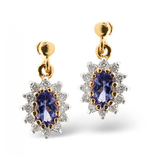 9K Gold 0.25ct Diamond & 0.48ct Tanzanite Earrings, F2055