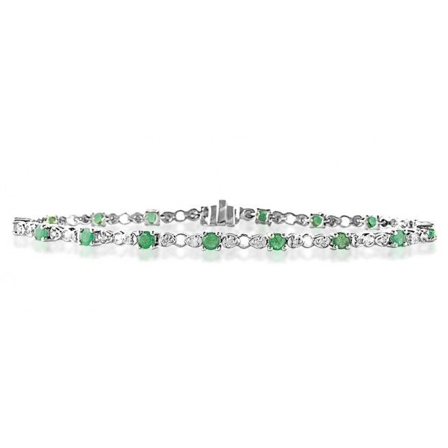 9K White Gold 0.17ct Diamond & Emerald Bracelet, G1404