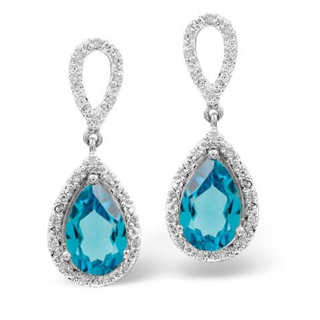 9K White Gold 0.21ct Diamond & 3.26ct Blue Topaz Earrings, F2030