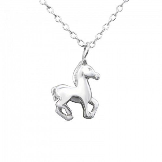 Horse Trotting / Piaffe - 925 Sterling Silver Plain Necklaces
