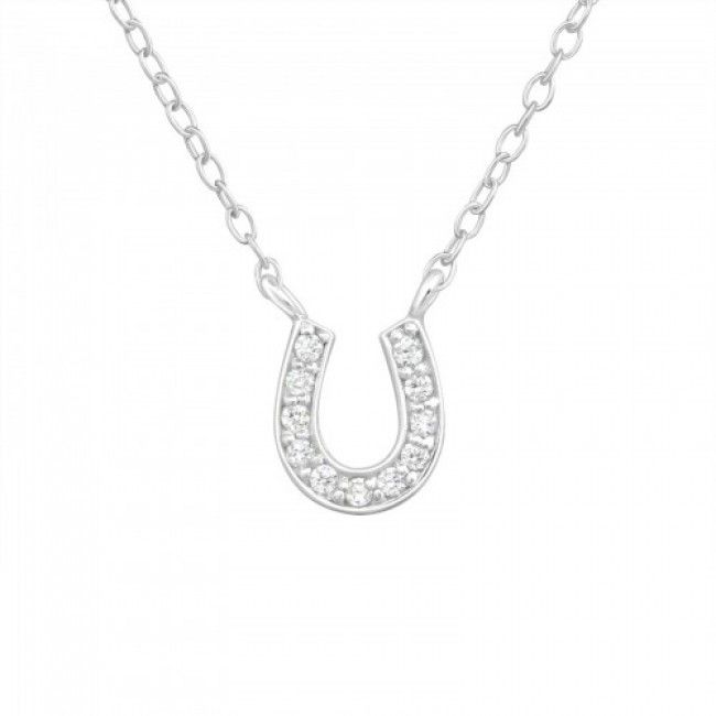 Horseshoe - 925 Sterling Silver Jewelled Necklaces Crystal