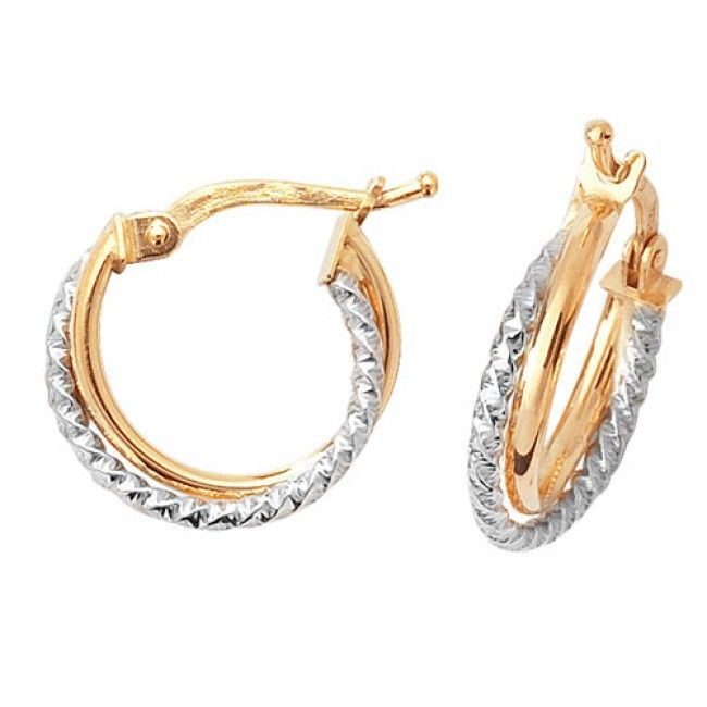 Just Gold Earrings -9Ct 2 Tone Hoop Earrings, ER934