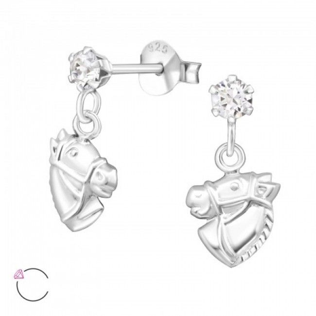 Horse Head 925 Sterling Silver Ear Studs crystal from Swarovski® -